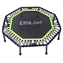 EZ Glam Folding Children Fitness Trampoline invigorates Quietest Bounce for Mini Rebounding — Long Lasting Premium Bungees — Top Rated for Quality and Durability