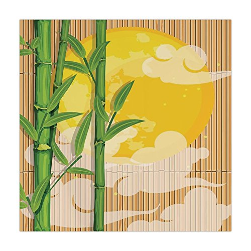 iPrint Satin Square Tablecloth,Asian,Bamboo Tree Branches Full Moon and Abstract Curvy Clouds Stars Eastern,Yellow Green Light Brown,Dining Room Kitchen Table Cloth Cover ()