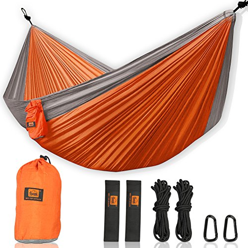 Walbest Double Camping Hammock, Portable Parachute Double Two Person Hammock with 2 X Hanging Tree Straps, Lightweight Nylon Hammock For Backpacking, Camping, Hiking, Beach, - Compare Size Sunglasses