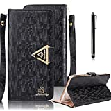 Galaxy S6 Wallet Case, Bonice Luxury Premium Bling Glitter Book Style [Wrist Strap] Phone Case PU leather Magnetic Closure Flip Stand Anti-scratch Cover Skin + Metal Stylus Pen - Black