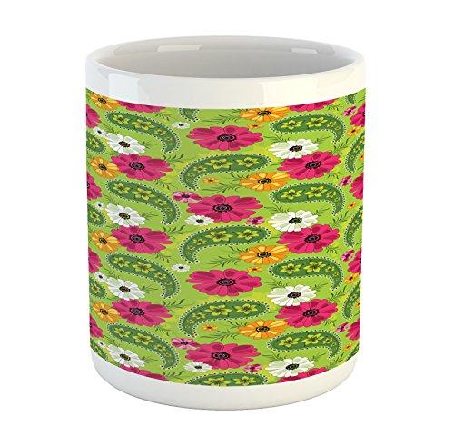 g, Floral Pattern with Vivid Paisley Print Old Vintage Boho Style Print, Printed Ceramic Coffee Mug Water Tea Drinks Cup, Pistachio Pink Orange ()