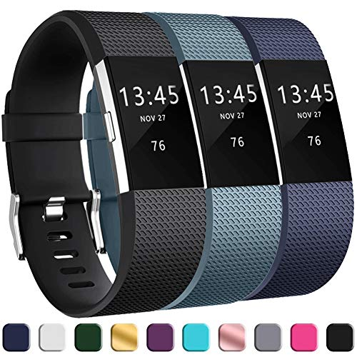 GEAK Replacement Bands for Fitbit Charge 2, Adjustable Classic Wristbands for Fitbit Charge 2, Small Black Navy Slate