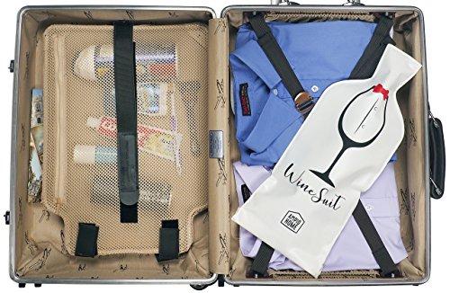 Wine Bottle Protector Travel Bag | 3 PACK Reusable Wine Sleeve Bag | Pack in Luggage & Suitcase | Protective Inner Skin & Tough Leak Proof | Bonus Travel Corkscrew | Wine Accessory Gift