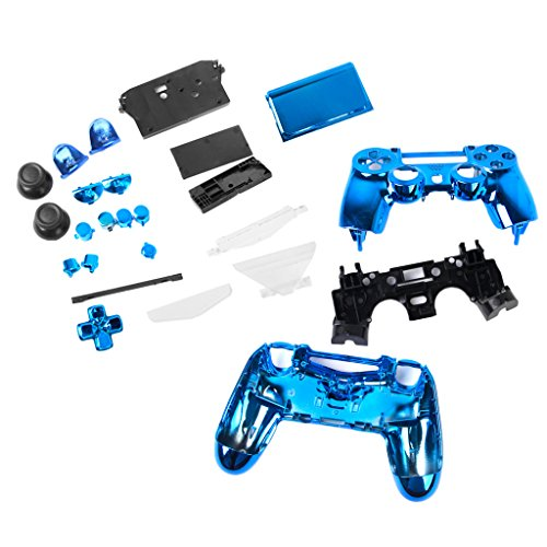 (gazechimp Metal Plated Full Housing Shell Case Buttons For Sony PS4 Controller Blue)