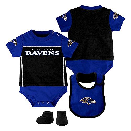 OuterStuff NFL Baltimore Ravens Creeper/Bib and Bootie Set, Black, Youth 12 Months - Adidas Black Bib