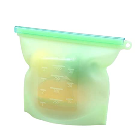 wicemoon bolsas de sellado al vacío de alimentos. Alimentos congelados funda frigorífico alimentos frutas silicona bolsas, silicona, Verde, 23*17.5cm