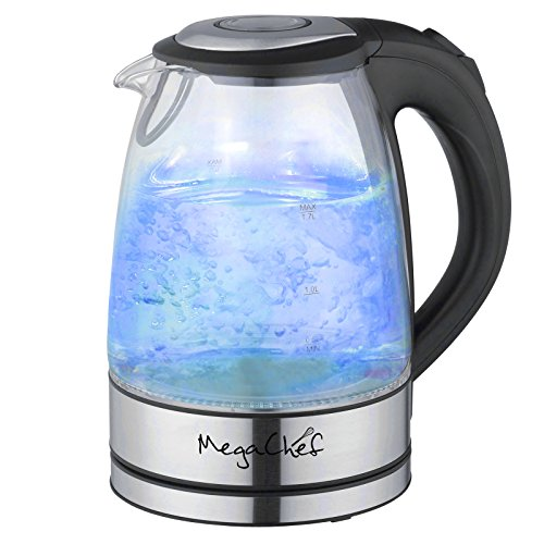 Mega Chef 1.7Lt. Glass and Stainless Steel Electric Tea Kettle ()