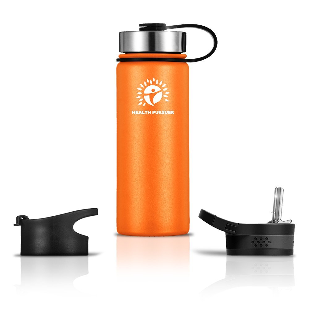 Stainless Steel Water Bottle/Thermos: ​22 Oz.​ Double Walled Vacuum Insulated Wide Mouth Travel Tumbler, Reusable BPA Free Twist Lid Bottles for Hot or Cold Liquid: Bonus Flip & Straw Lids - ​Orange
