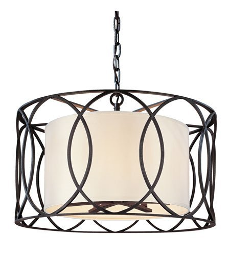 Pendants 5 Light with Deep Bronze Finish Hand-Worked Wrought Iron Material Candelabra 17 inch Long 300 Watts