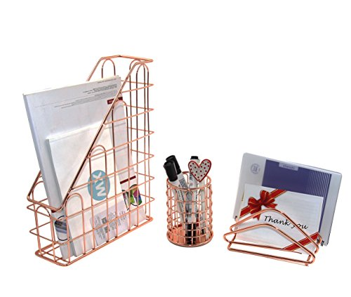 Superbpag Wire Metal 3 in 1 Desk Organizer Set- Letter Sorter, Pencil Holder and 1 Vertical Desk File Organizer by Superbpag