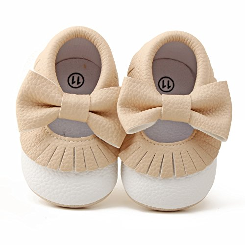 Delebao Infant Toddler Baby Soft Sole Tassel Bowknot Moccasinss Crib Shoes (6-12 Months, Khaki & White)