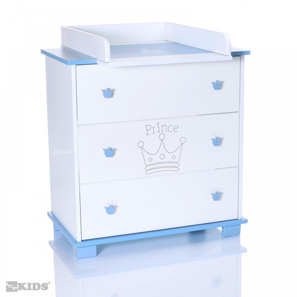 Wickelkommode und abnehmbarer Wickelaufsatz | 3 große Schubladen; weiß-blau LCP Kids 67