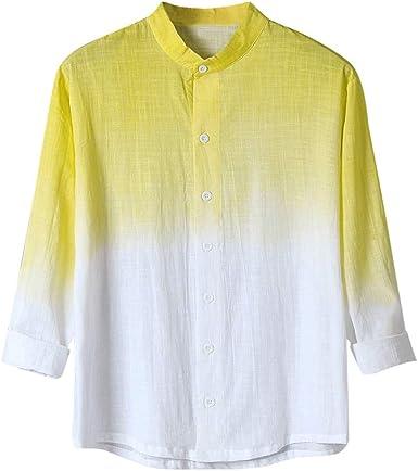 Hombre Camisas de Algodón y Lino de Manga Largas Camisetas de Gradiente Retro Casual Camisa de Botones Cuello Mao Suelta Transpirable Tallas Grandes Abrigo de Camisa Top de Trabajo Blusa Gusspower: Amazon.es: