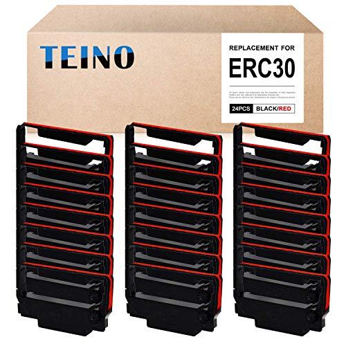 TEINO 24 Pack ERC30 ERC-30 ERC 30 34 38 B/R Compatible Ribbon Cartridge for use in ERC38 NK506 (Black Red)