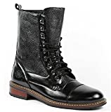Polar Fox Men's 801025 Tall Military Style Lace up Combat Fashion Dress Boots, Black, 7.5