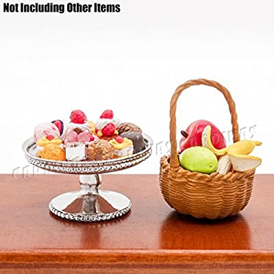 Odoria 1:12 Miniature Sliver Cake Stand Dessert Tray Centerpiece Dollhouse Kitchen Accessories: Toys & Games