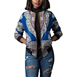 Luluka Women's Long Sleeve Print Dashiki Ethnic Style Africa Baseball Jacket US Medium Blue