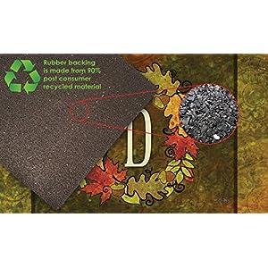 Toland Home Garden Fall Wreath Monogram D 18 x 30 Inch Decorative Autumn Floor Mat Colorful Leaves Doormat 6