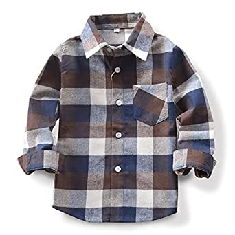 OCHENTA Little Kids Boys' Girls' Long Sleeve Button Down Plaid Flannel Shirt E003 Coffee Tag 100CM - 2T