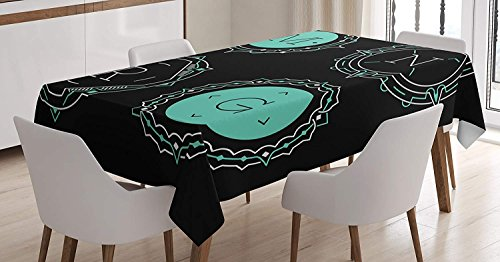 (LEO BON Rectangle Table Cover Monograms with Different Letters Inside The Curved Lines Pattern Cotton Linen Table Cover for Kitchen Dinning Tabletop Decoration 60X104inch )