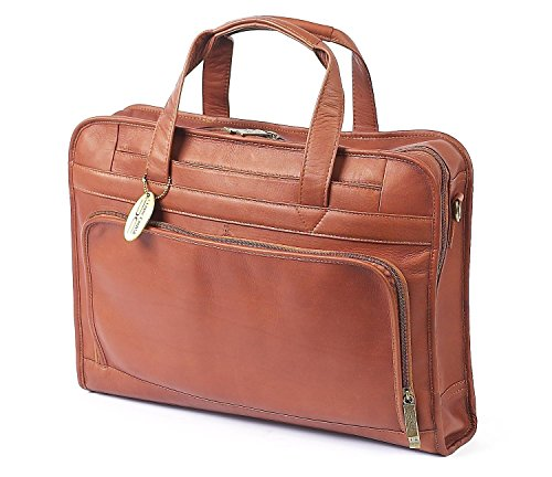 (Claire Chase Professional Leather Laptop Briefcase, Computer Bag in Saddle )
