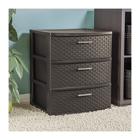 Sterilite 25306P01 3-Drawer Wide Weave Tower, Espresso Frame & Drawers w/ Driftwood Handles, 2-Pack -  - dressers-bedroom-furniture, bedroom-furniture, bedroom - 5103wpmp0oL. SS570  -