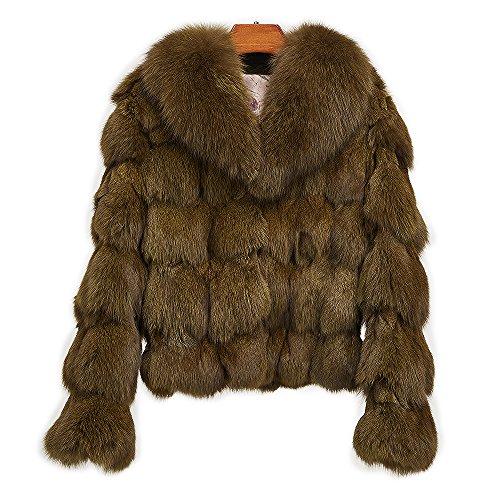 MMFur Female Real Fox Fur Coat With Collar Green XXL