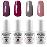 la colors gel like nail polish - Gellen Elegance 4 Colors Gel Nail Polish Set, UV LED Soak Off Gel Nail Kit 8ml