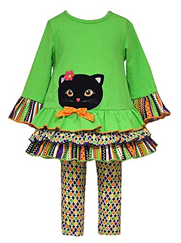 Bonnie Baby Baby Girls' Green CAT Applique Halloween Leggings outfit, 24 Months