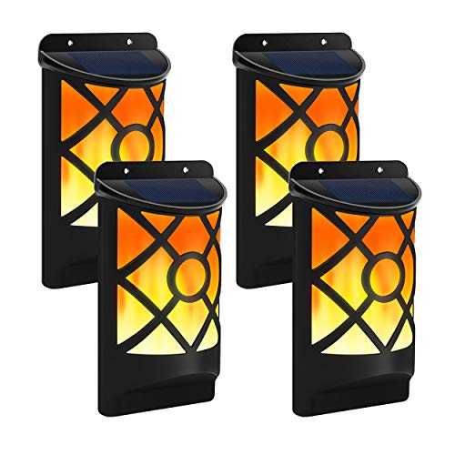 Solar Flame Lights Outdoor, Aityvert Waterproof Flickering Flame Solar Lights Dark Sensor Auto On/Off 66 LED Solar Powered Wall Mounted Night Lights Lattice Design for Pathway Patio Deck Yard 4 Packs (Ornamental Lights Garden)
