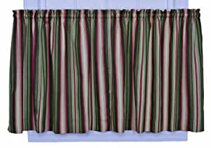 Ellis Curtain Montego Stripe 82-Inch by 36-Inch Tailored Tier Curtains, Green