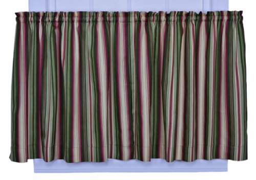 (Ellis Curtain Montego Stripe 82-Inch by 24-Inch Tailored Tier Curtains, Green )