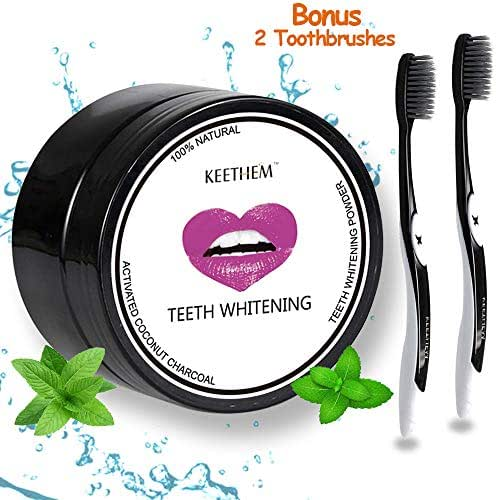 Teeth Whitening Charcoal Powder, Keethem Activated Charcoal Natural Teeth Whitener, Strips, Kits, Gels with 2pcs Soft Toothbrushes for Teeth Whitening Toothpaste