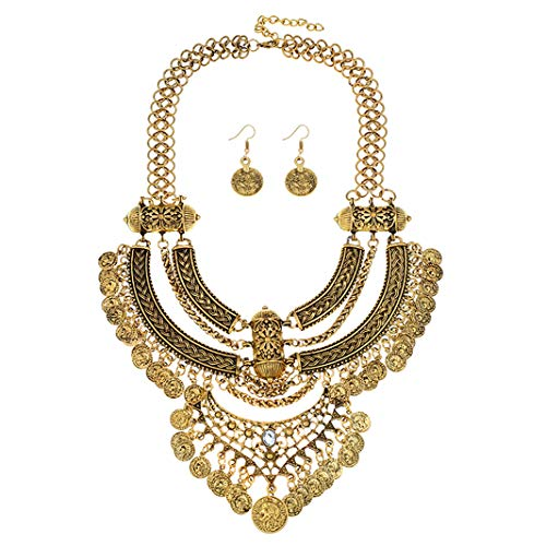 Ufraky Women Vintage Bohemian Ethnic Gypsy Bib Chunky Festival Statement Coin Necklace and Earrings Set (Anti Gold)