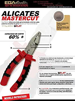 Ega Master COMBINATION PLIER MASTERCUT 180 MM TITACROM BIMAT - - Amazon.com