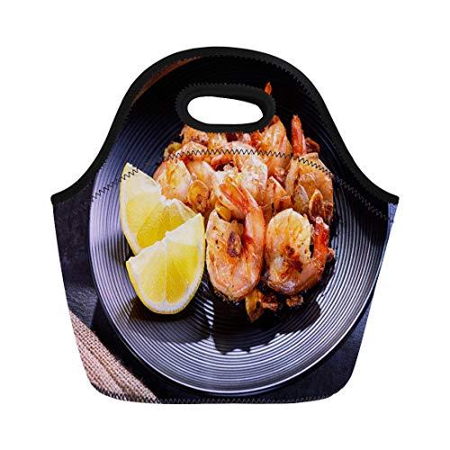 Semtomn Lunch Bags Orange Appetizer Skillet Roasted Jumbo Shrimp on Black Plate Neoprene Lunch Bag Lunchbox Tote Bag Portable Picnic Bag Cooler Bag