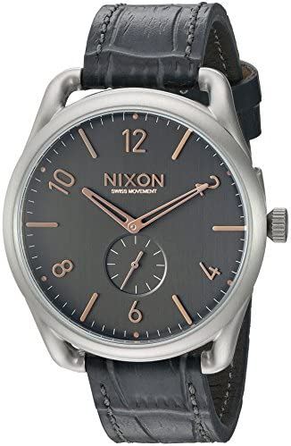 Nixon Men s A4652145 C45 Leather Analog Display Swiss Quartz Grey Watch