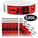 Goldistock 3/4'' Tyvek Wristbands Over 21- Value Pack Bright Red 5,000 Ct.- Easy Drinking Age Identification