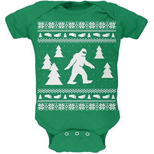 Sasquatch Ugly Christmas Sweater Green Soft Baby One Piece - 12-18 (Ugly Suits For Sale)