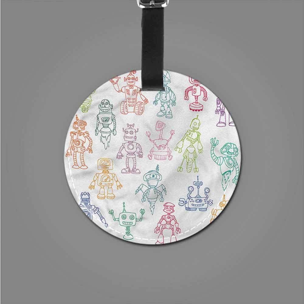 New Suitcase Luggage Tags Doodle,Robots Performing Tasks Creative gifts