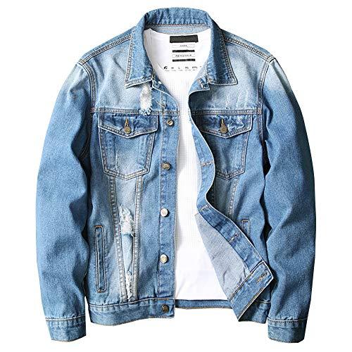 LONGBIDA Men's Denim Jacket,Classic Ripped Distressed Trucker Jean Coat with Holes