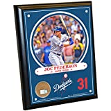 "MLB Los Angeles Dodgers Joc Pederson Plaque with Game Used Dirt from Dodger Stadium, 8"" x 10"", Navy"