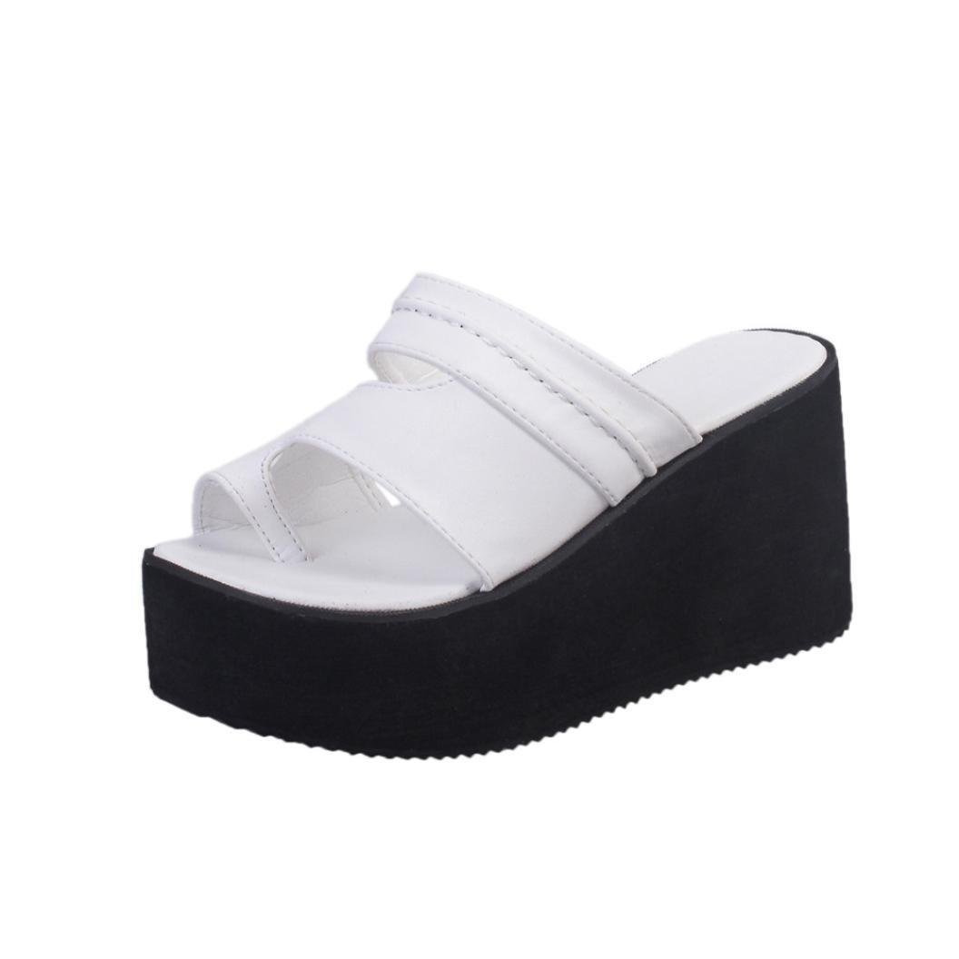 MEIbax CLEARANCE SALE Frauen Fashion Solid Peep Toe Dicke Bottom Sandalen Pantoffel Flatform Schuhe Outdoor Schuhe Sommer schuhe (Weiszlig;, 38EU)38EU|Wei?