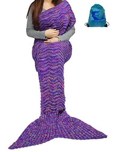 [Junpro Mermaid Tail Blanket for Adult Kids Soft HandCrochet Sleeping Bag for Girls Women in Sofa Bed Living Room (Adult, Wave -] (Creative Team Costume Ideas)