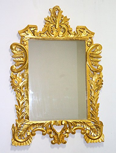 Buy Monica Wooden Golden Wall Mirror Frame With Handcarving Online ...