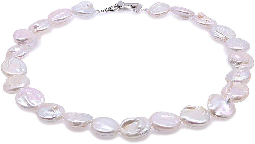 Collar de perlas estilo barroco de color lavanda de JYV, de 17,5 x 19 a 18 x 20mm