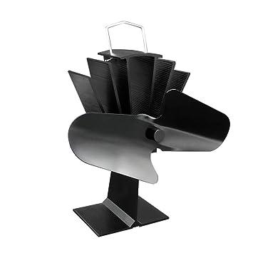 Funnyrunstore Durable 2 lamas de aluminio Negro estufa de calor Desarrollado Ventilador Estufa Ventilador de ahorro de combustible,negro: Amazon.es: ...