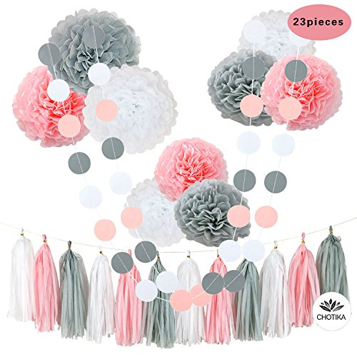 CHOTIKA 23 pcs Tissue Flowers Pom Poms Party Girl Paper Decorations First Birthday Girl Tissue Flowers Tassel Paper Baby Shower Decorations supplies kits 100% Premium Paper (Baby Shower Decoration For Girls)