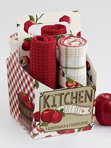 Apple Orchard Kitchen Gift Set, apples, tea towel, dishtowels, gift (Apple Dish Set)