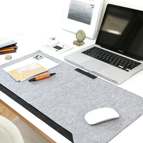 Amovee® Felt PU Leather Table Mat, 2.5*1.3 inches Desk Pad, Mouse Mat For Desktops And Laptops - Light Grey